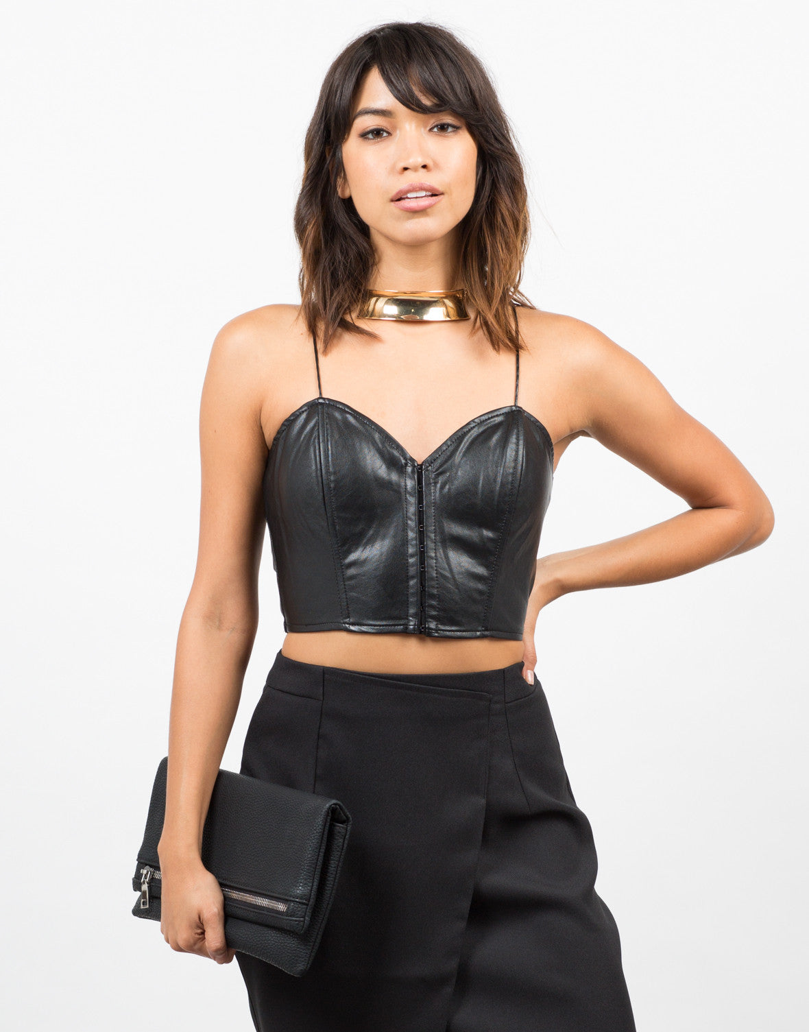 Front View of Leatherette Lace Back Crop Top