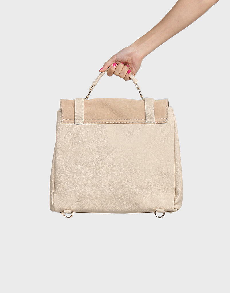 Leatherette Suede Backpack - Cream - 2020AVE