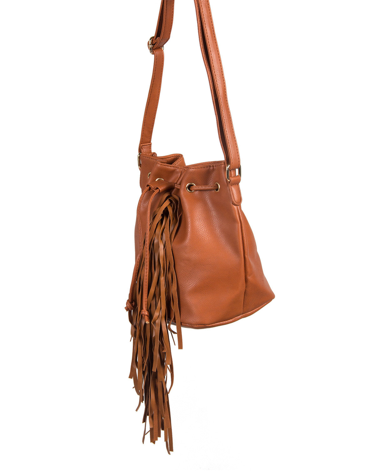 Leather Fringe Bucket Bag - Chestnut - 2020AVE