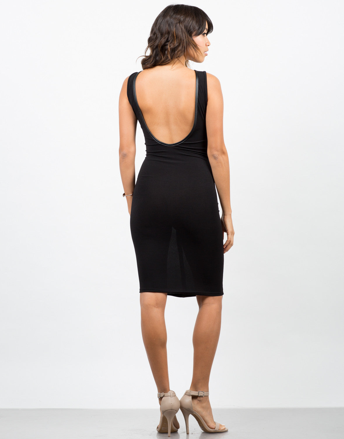 Back View of Leather Mesh Midi Dress