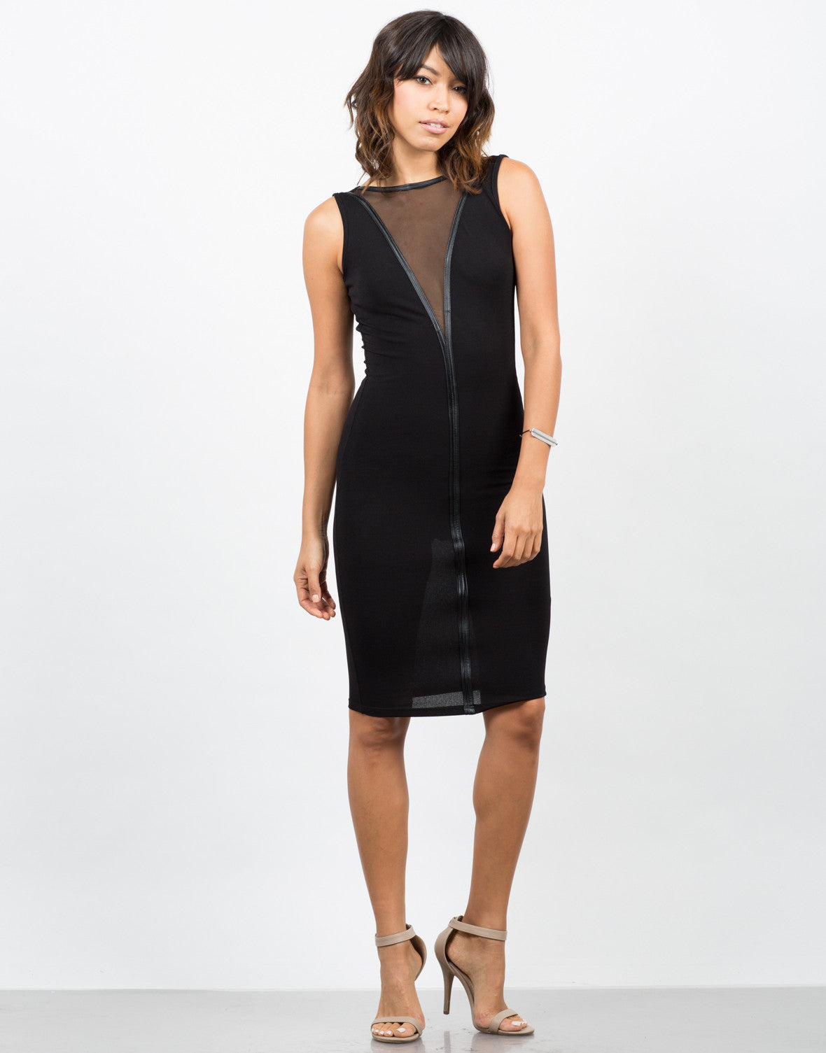 Front View of Leather Mesh Midi Dress