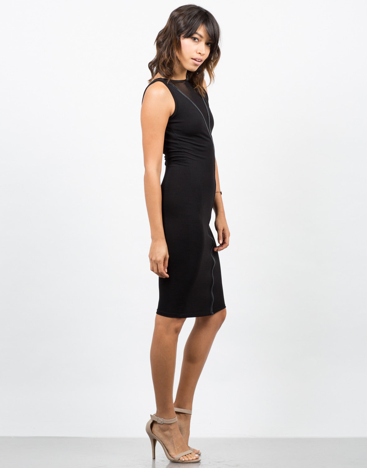 Side View of Leather Mesh Midi Dress