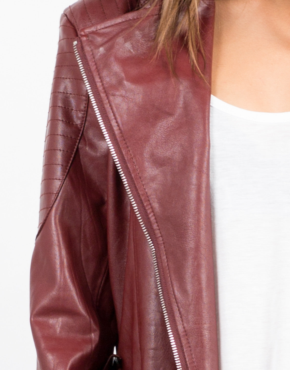 Detail of Leather Moto Jacket