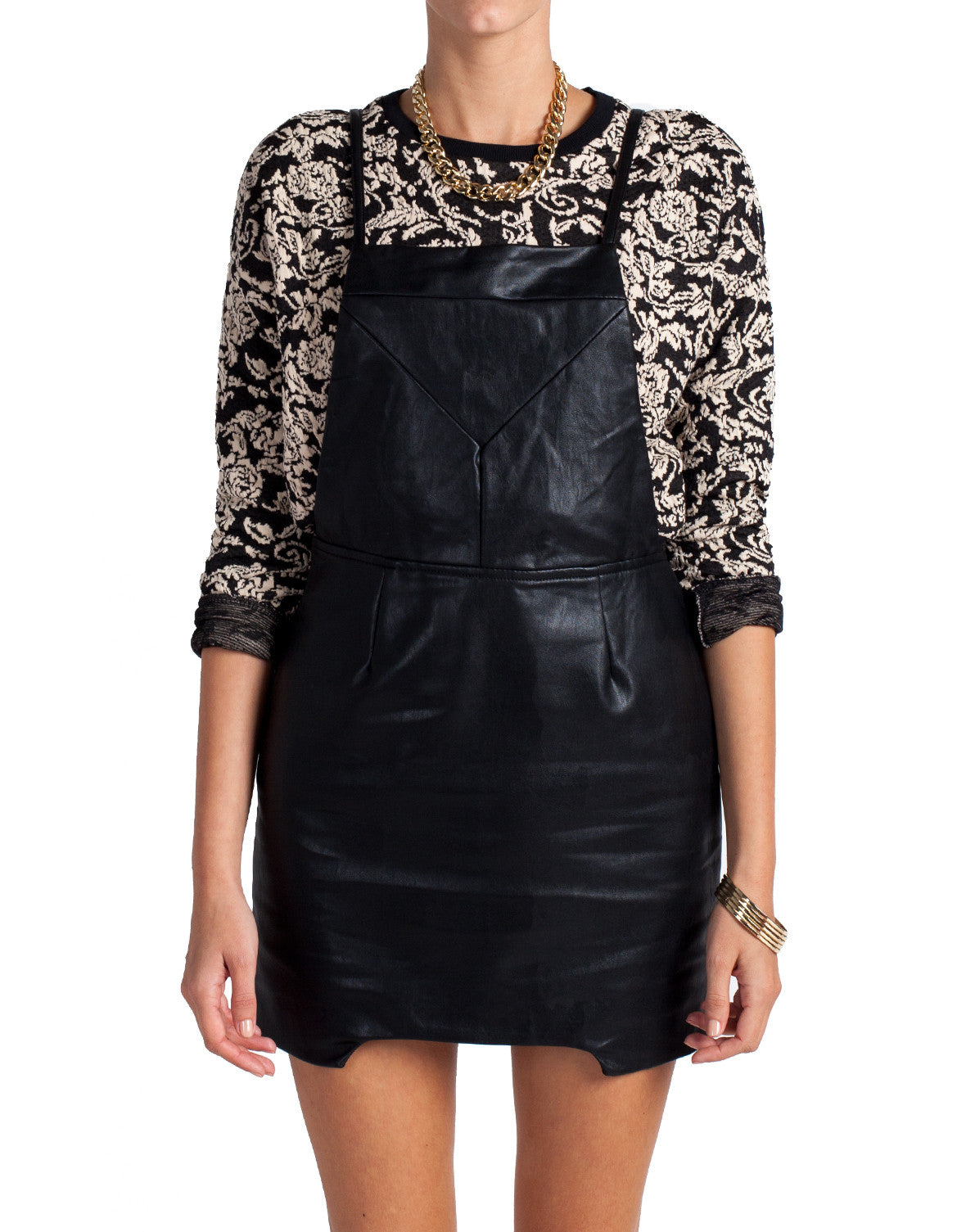 Leather Overall Dress