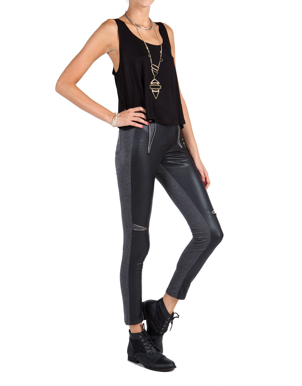 Leather Zipper Wedge Leggings