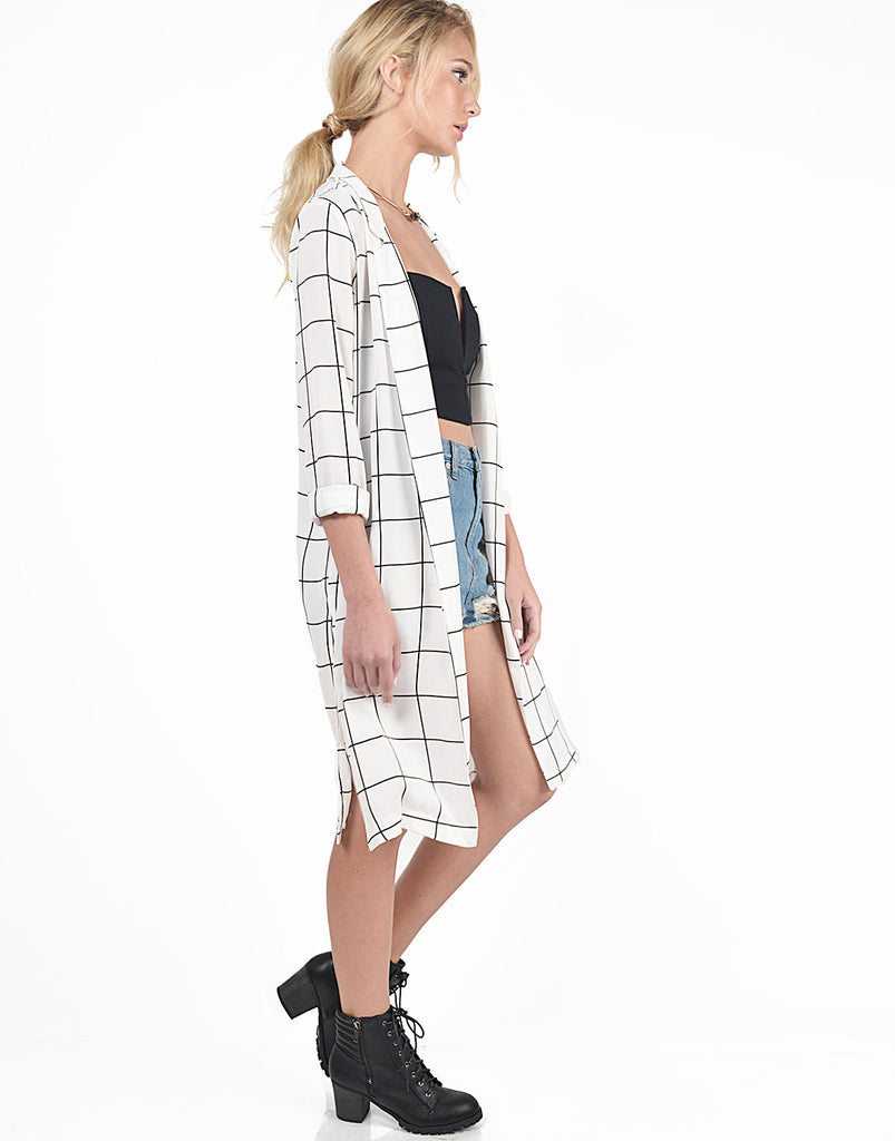 Lengthy Checkered Cardigan - 2020AVE