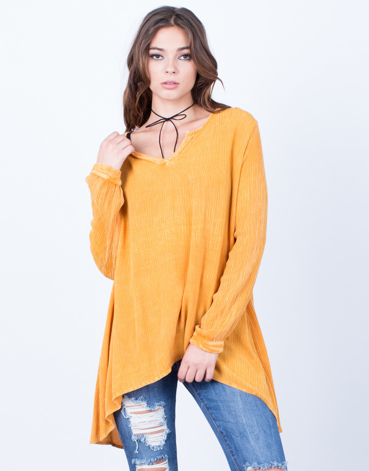 Front View of Let Loose Flowy Top