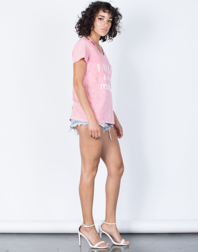 Pink Let's Brunch Tee - Side View