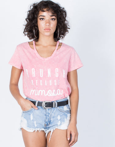 Pink Let's Brunch Tee - Front View