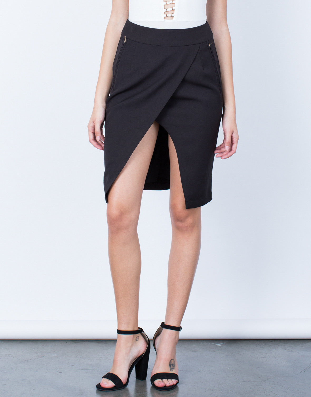 Front View of Let's Split Zipper Skirt