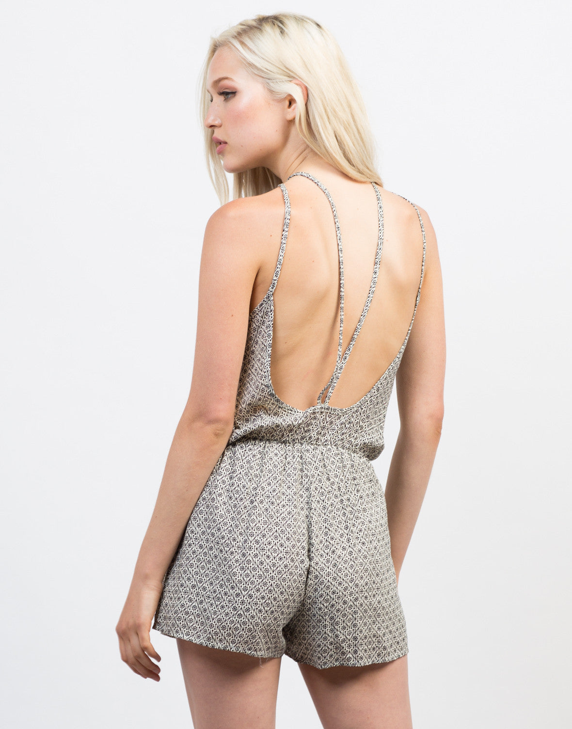 Back View of Light Gauze Printed Romper