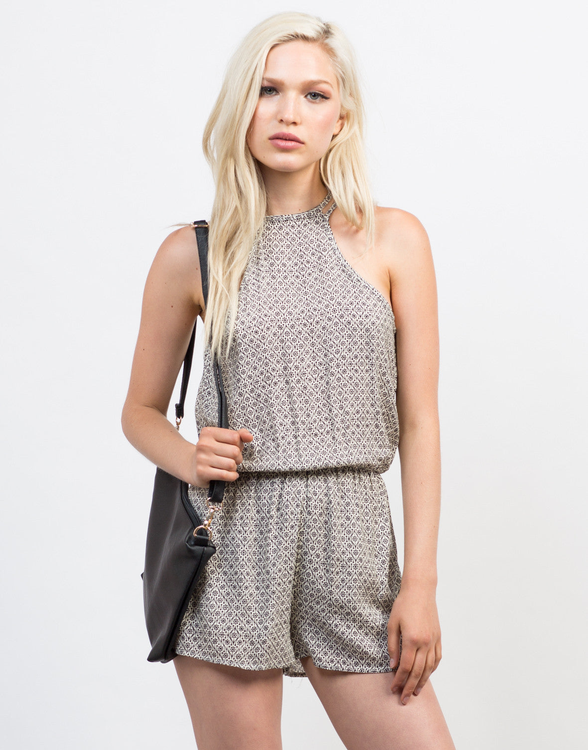 Front View of Light Gauze Printed Romper
