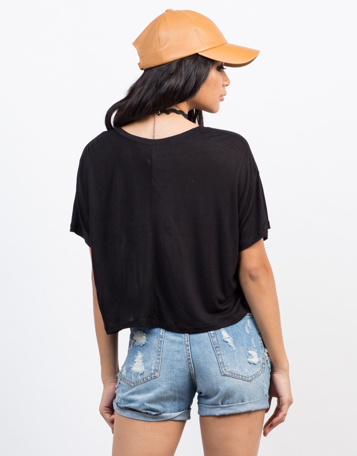 Back View of Light Knit Cropped Tee