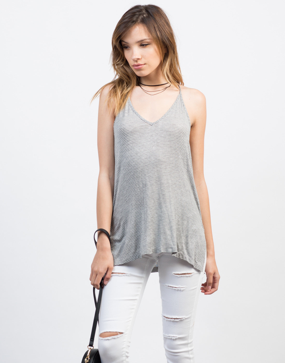 Front View of Light Knit Striped Tank