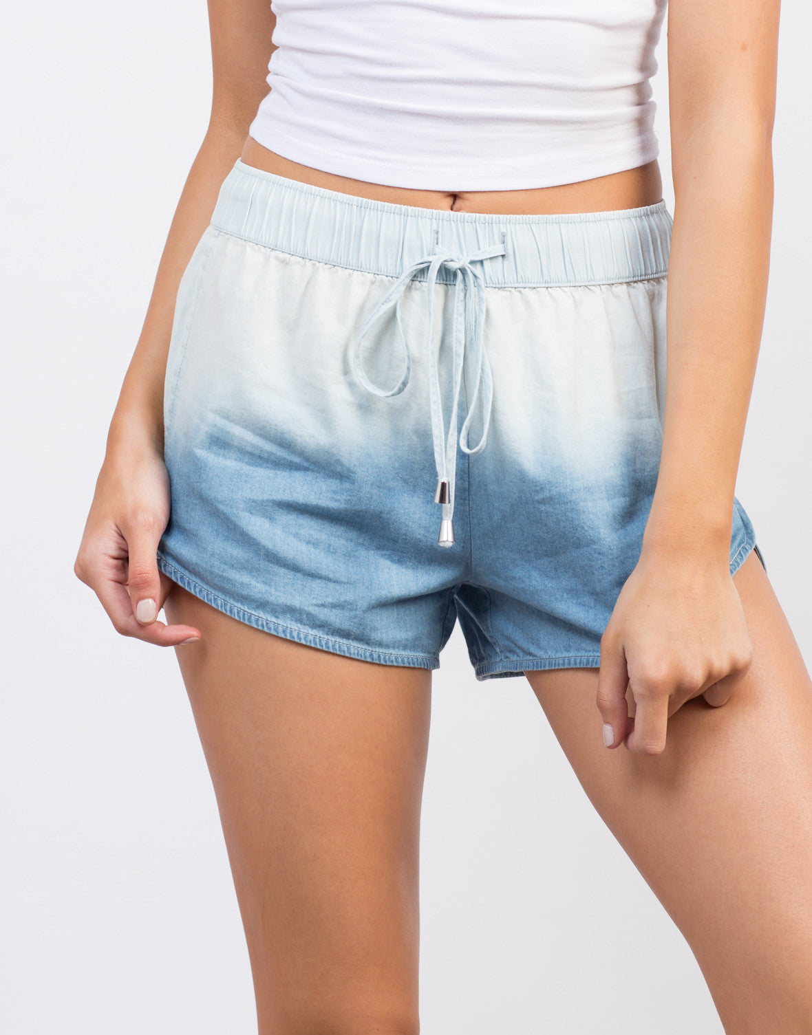 Detail of Light Ombre Denim Shorts