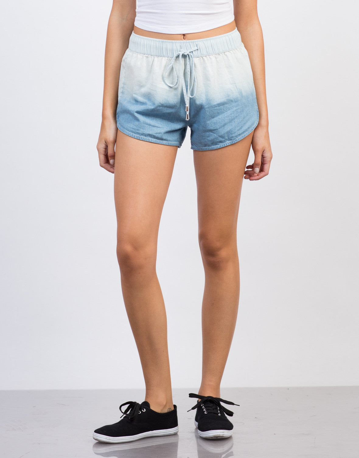 Front View of Light Ombre Denim Shorts