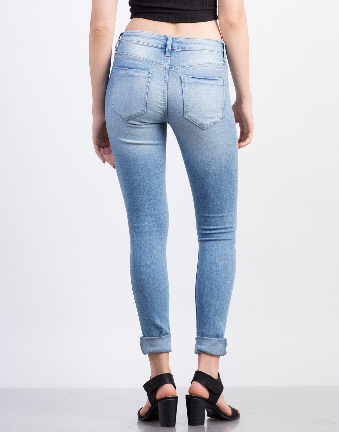 Back View of Light Wash Classic Skinny Jeans