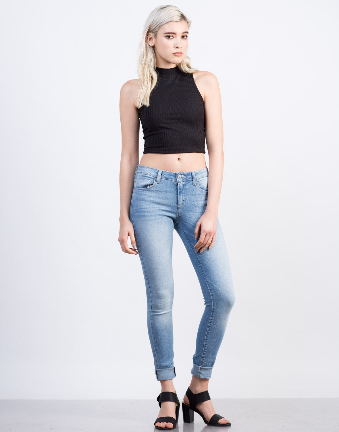 Front View of Light Wash Classic Skinny Jeans