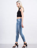 Side View of Light Wash Classic Skinny Jeans