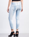 Light Wash Cropped Skinny Jeans - 2020AVE