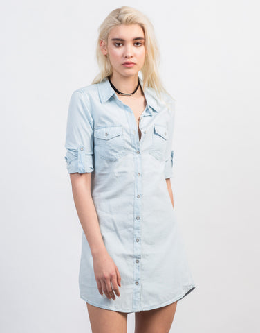Fron View of Blue Wash Denim Dress