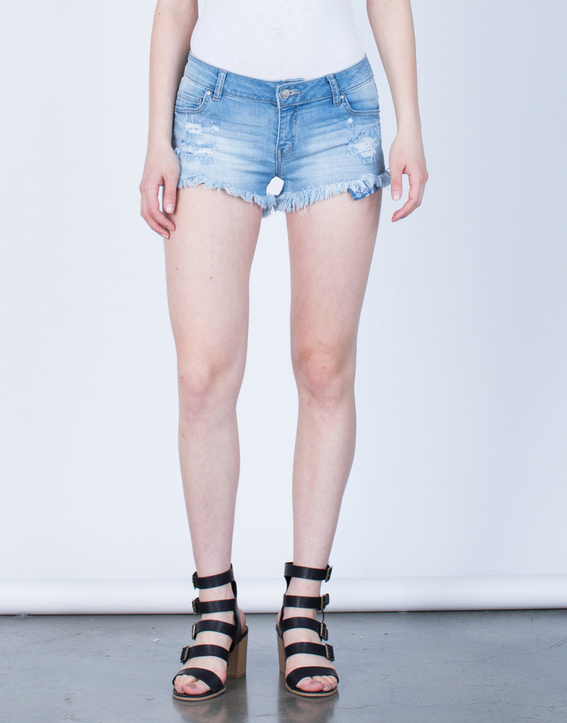 Front View of Light Wash Frayed Denim Shorts