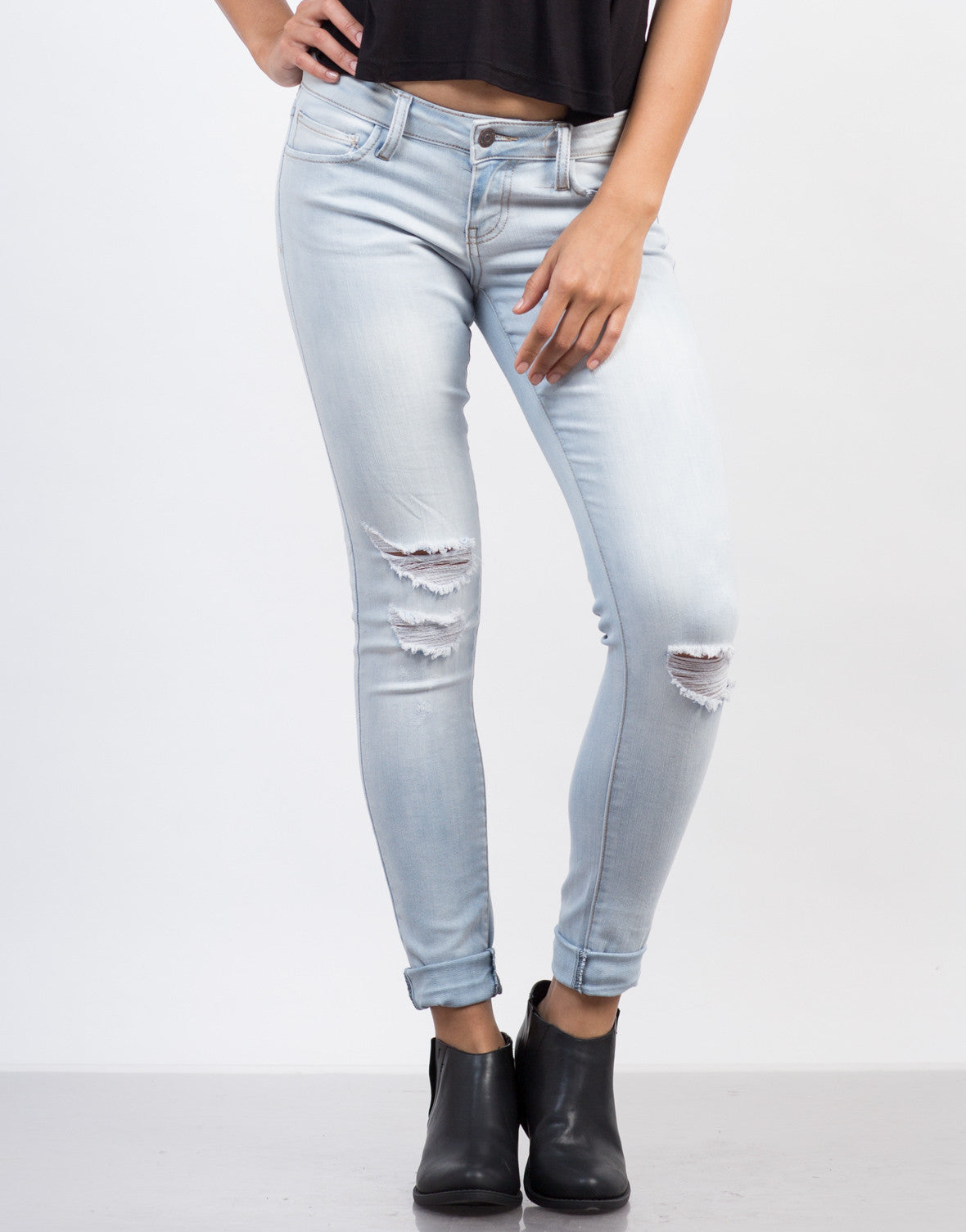 Front View of Light Wash Ripped Jeans