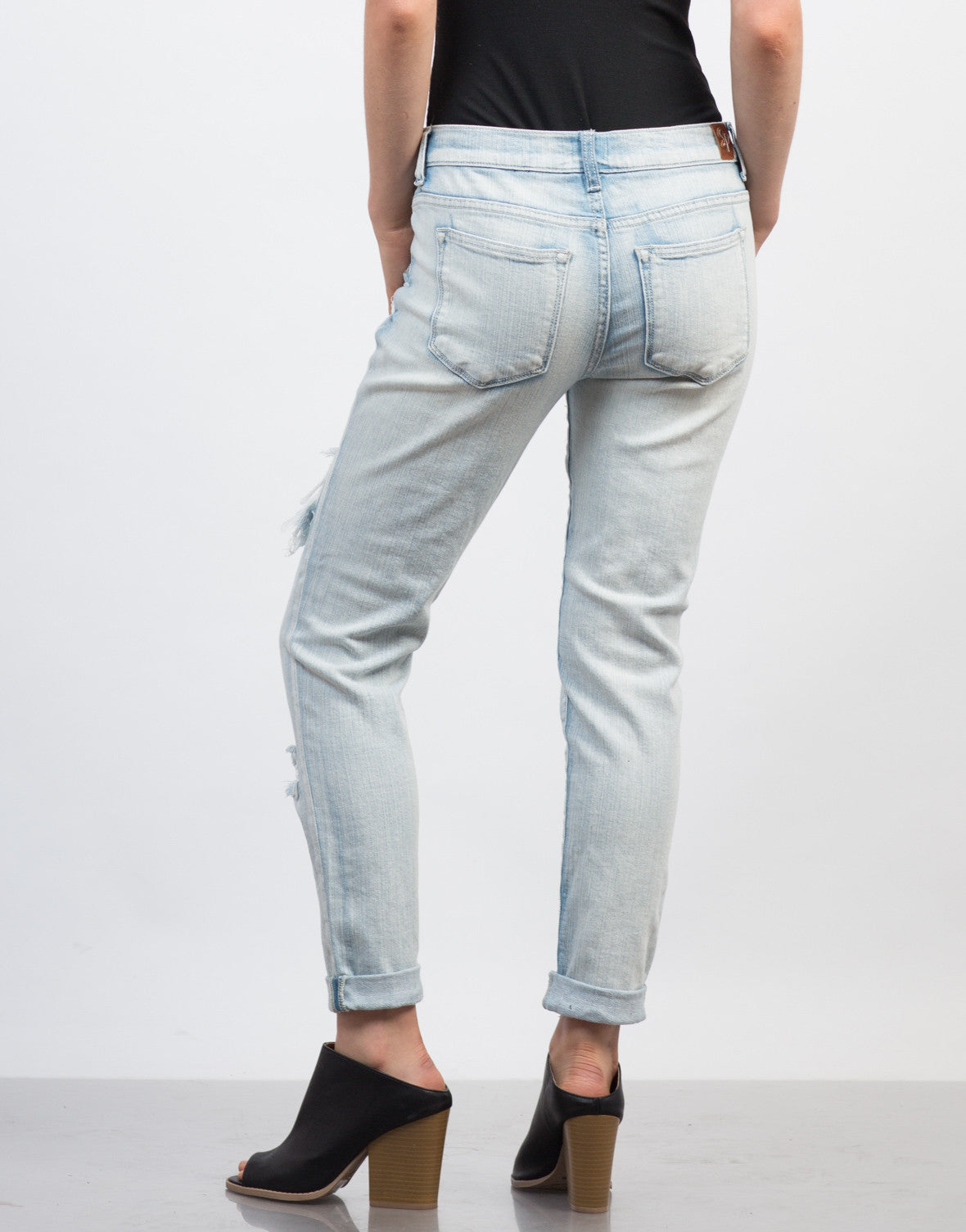 Back View of Light Washed Denim Boyfriend Jeans