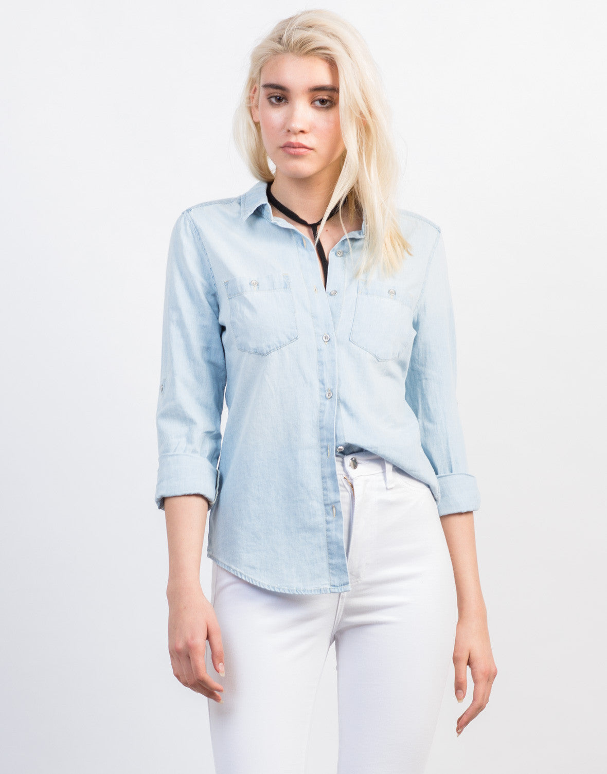 Front View of Light Washed Denim Shirt