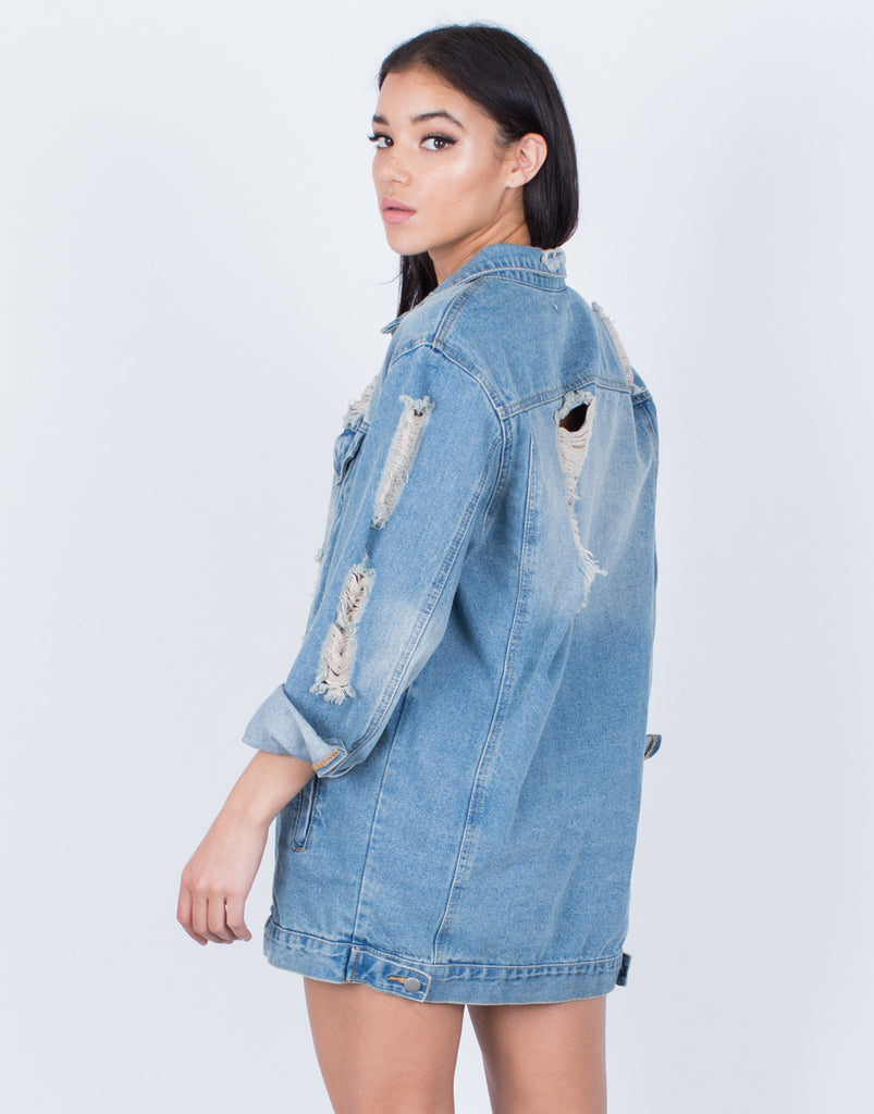 Back View of Light Washed Oversized Denim Jacket