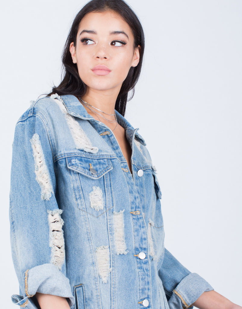 Detail of Light Washed Oversized Denim Jacket