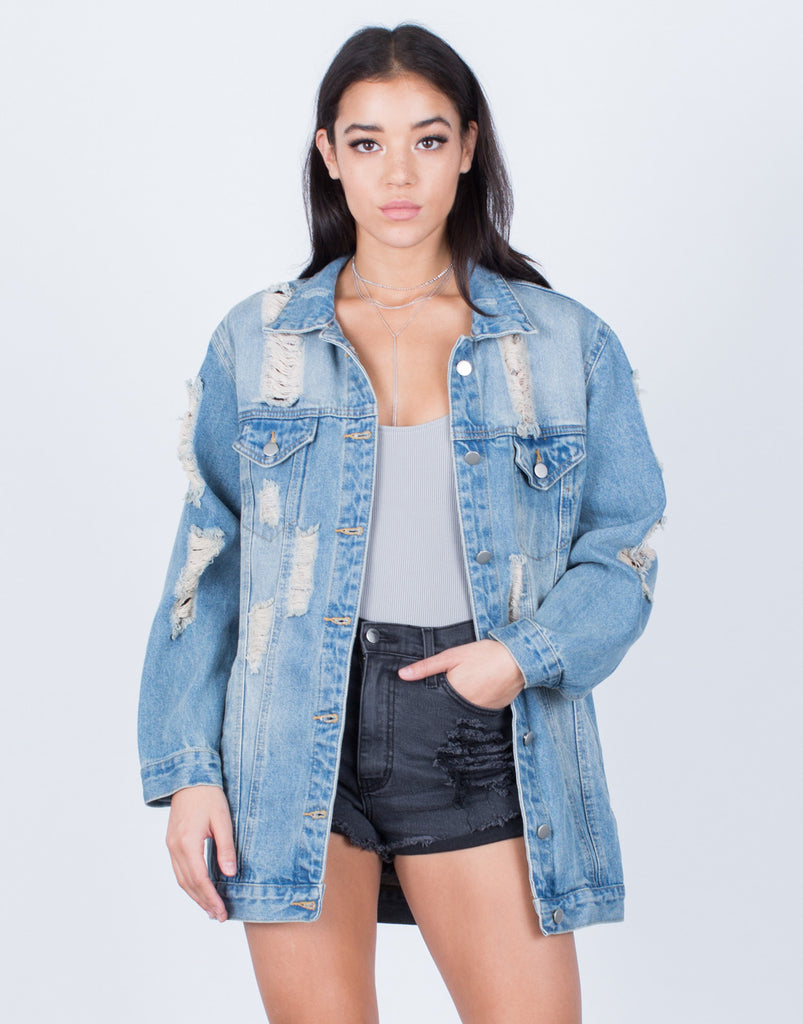 Front View of Light Washed Oversized Denim Jacket