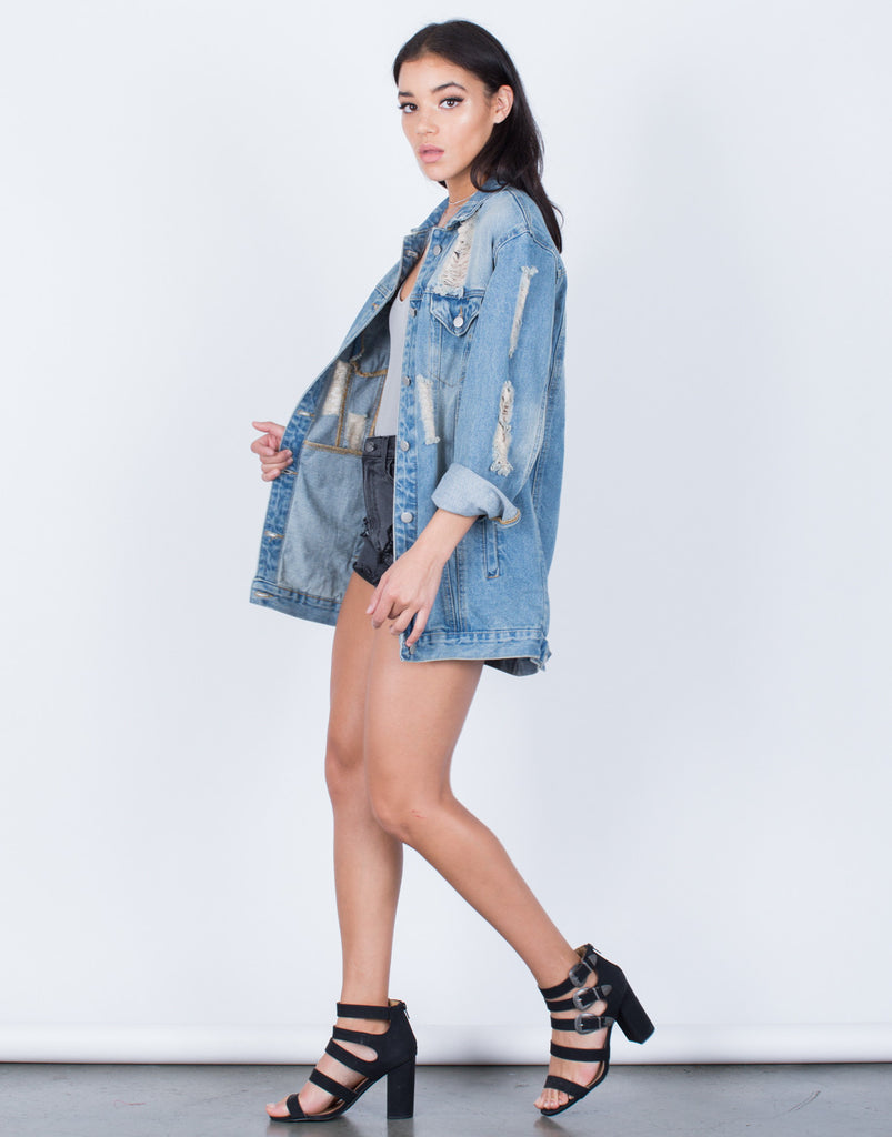 Side View of Light Washed Oversized Denim Jacket