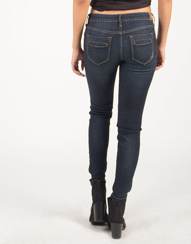 Lightly Destroyed Denim Skinny Jeans