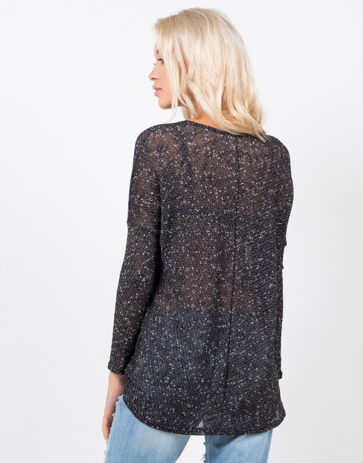 Back View of Light Knit Sweater Top