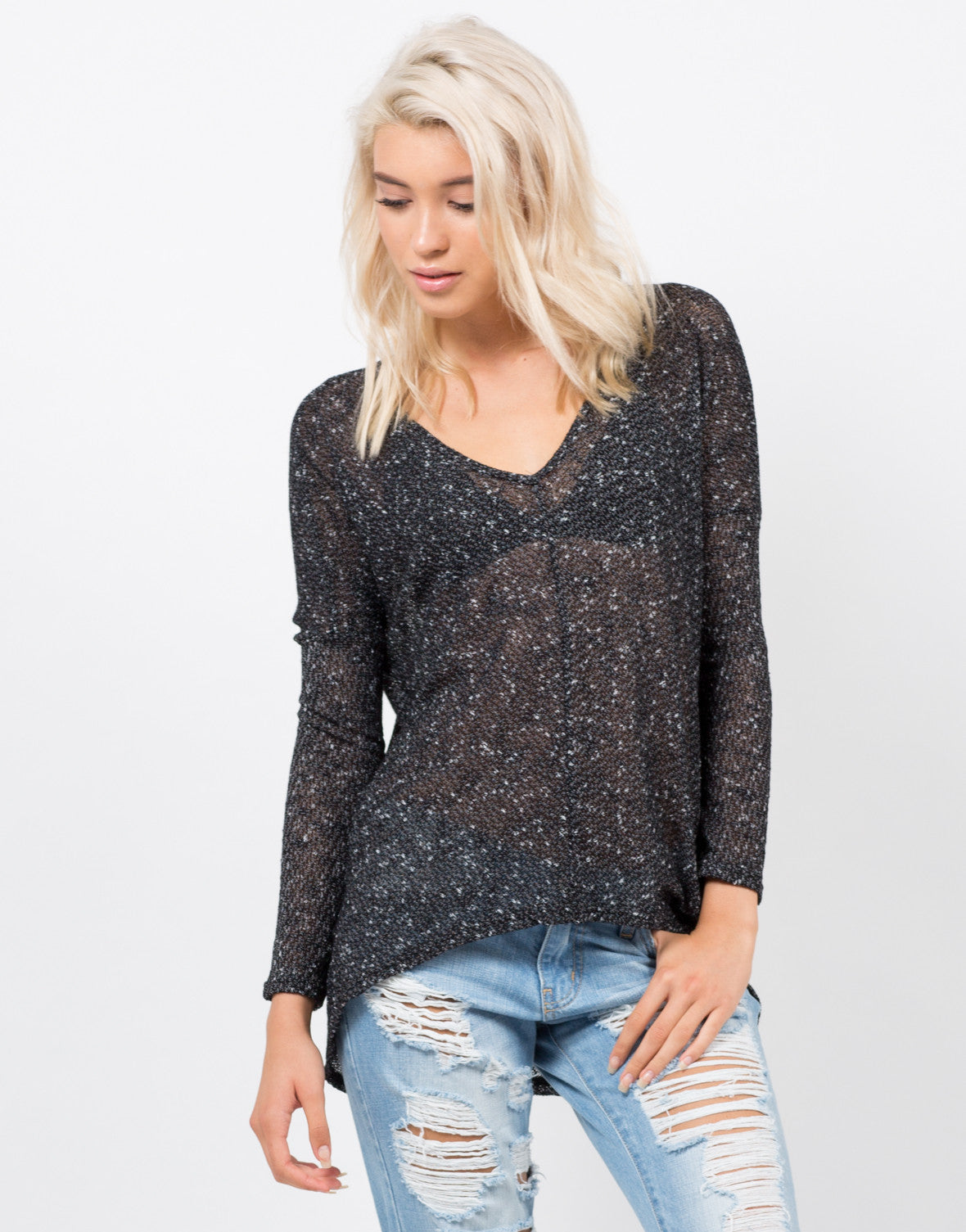 Front View of Light Knit Sweater Top