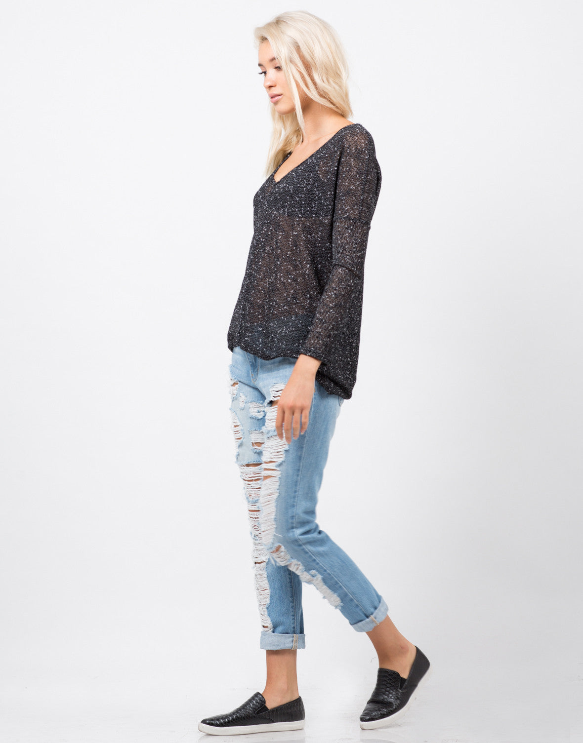 Side View of Light Knit Sweater Top