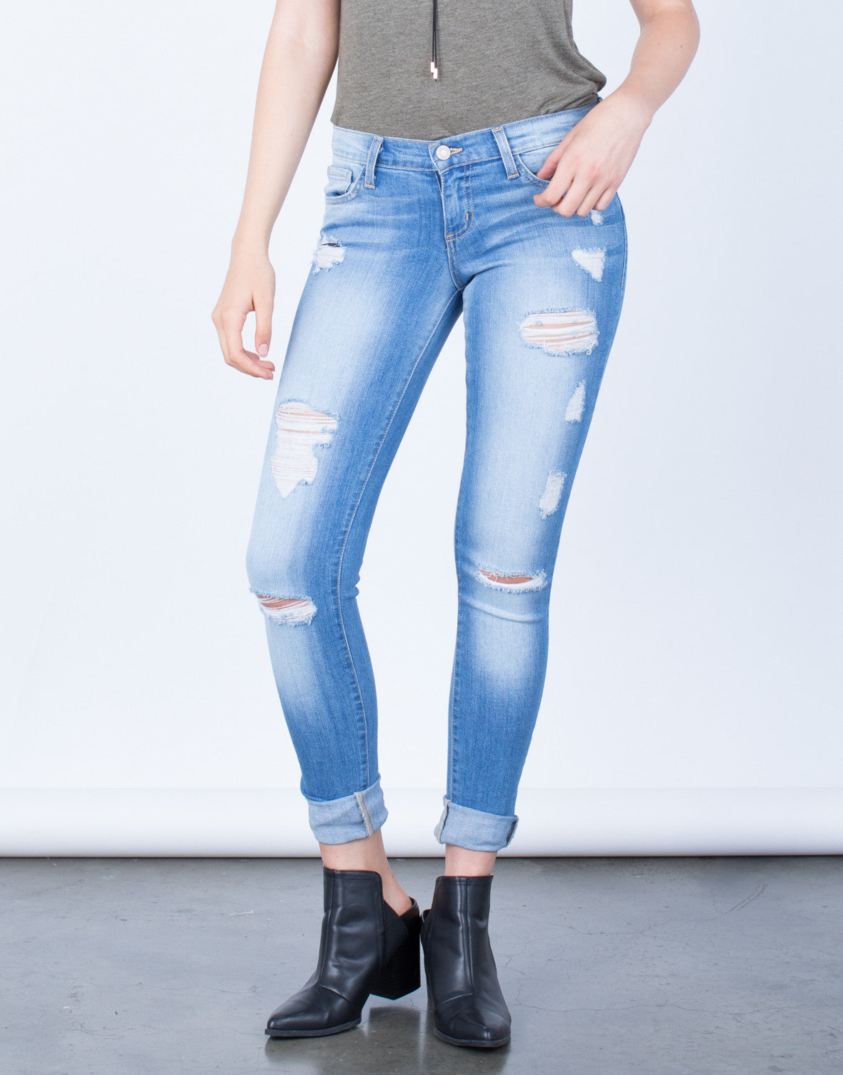 Front View of Lightly Destroyed Light Blue Skinny Jeans