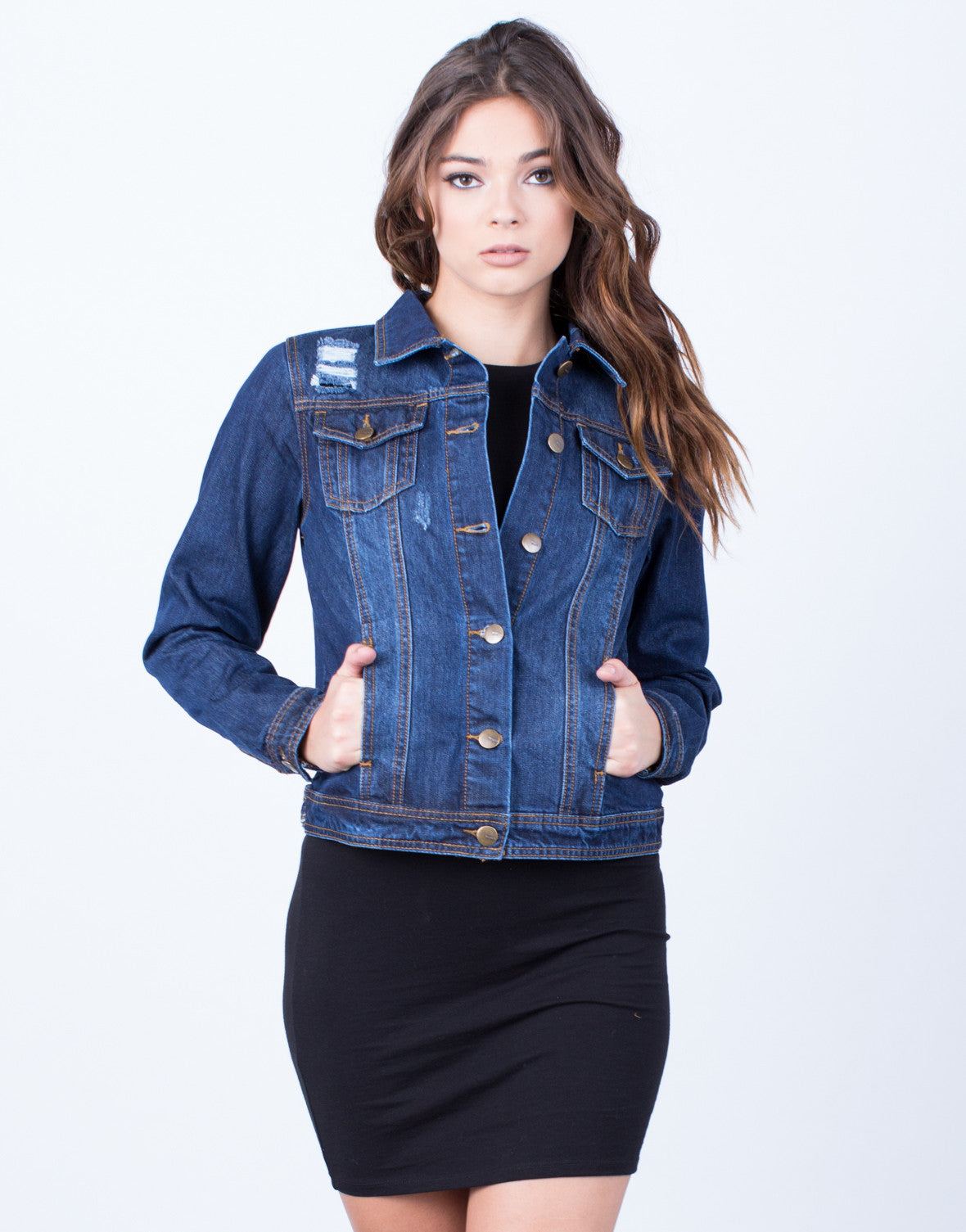 Front View of Lightly Frayed Denim Jacket