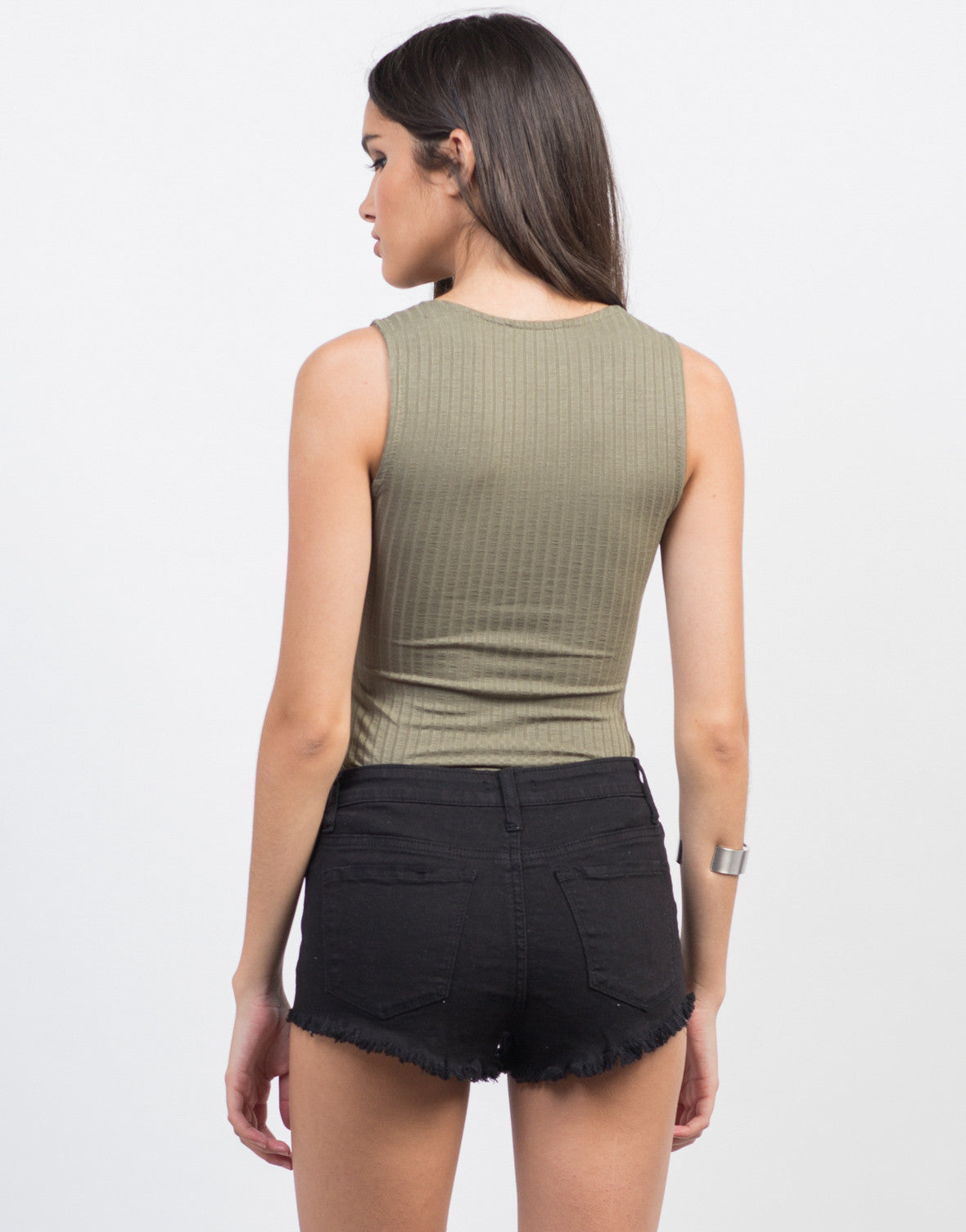 Back View of Lightly Rib Knit Lace-Up Bodysuit