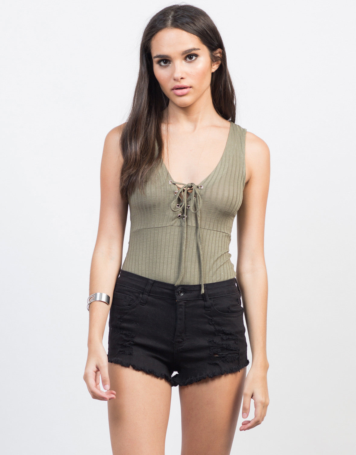 Front View of Lightly Rib Knit Lace-Up Bodysuit