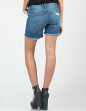 Back View of Lightly Destroyed Cutoff Bermuda Shorts