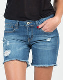 Detail of Lightly Destroyed Cutoff Bermuda Shorts