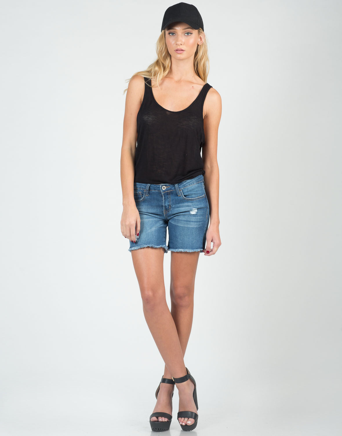 Front View of Lightly Destroyed Cutoff Bermuda Shorts