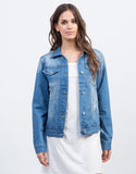 Front View of Lightly Distressed Denim Jacket