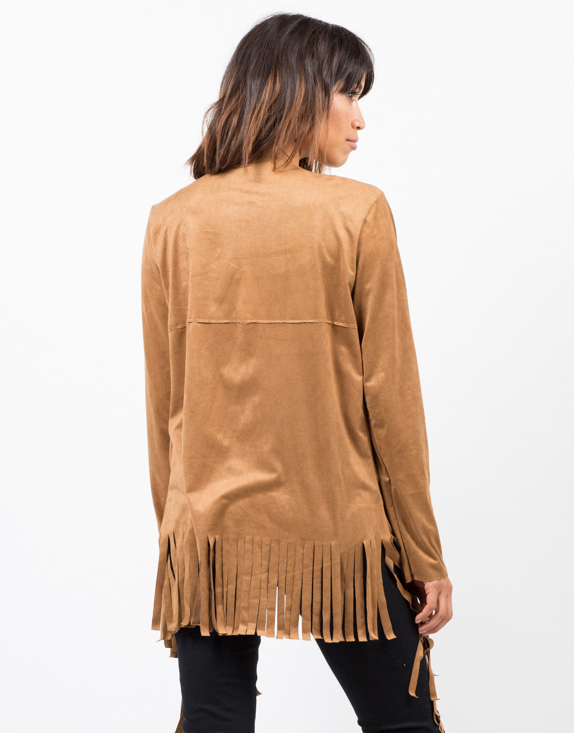 Back View of Light Suede Fringe Jacket