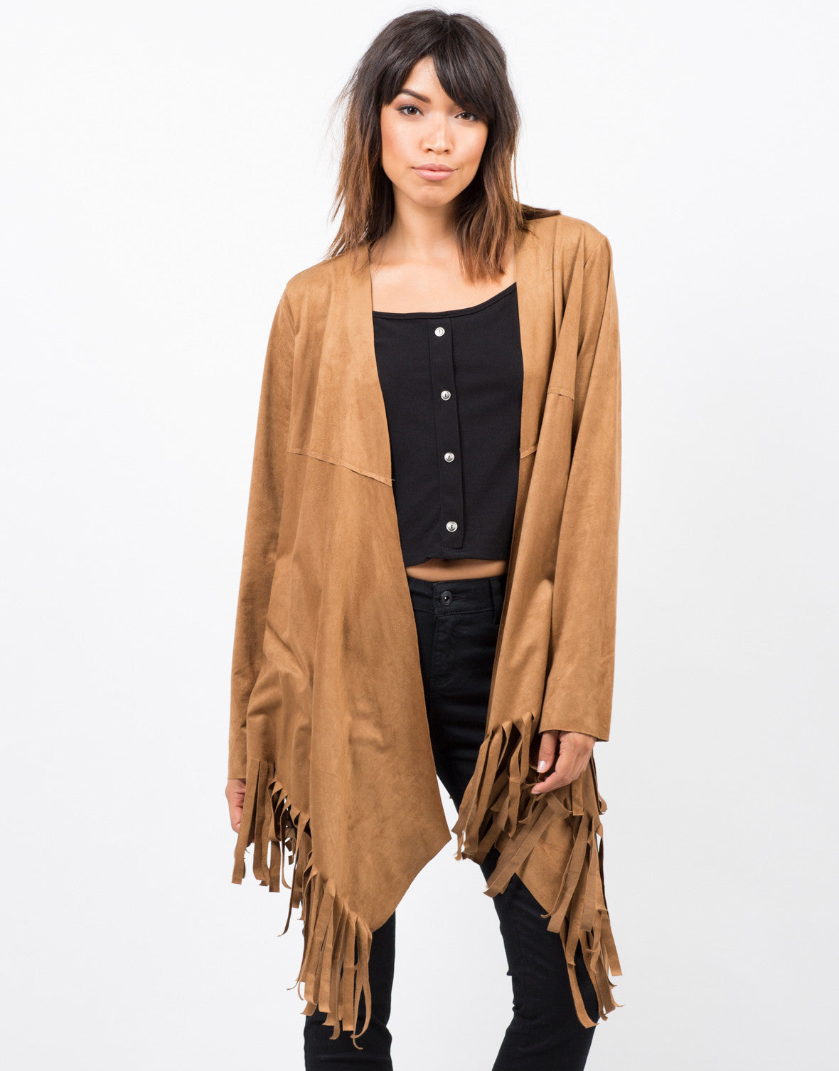 Front View of Light Suede Fringe Jacket