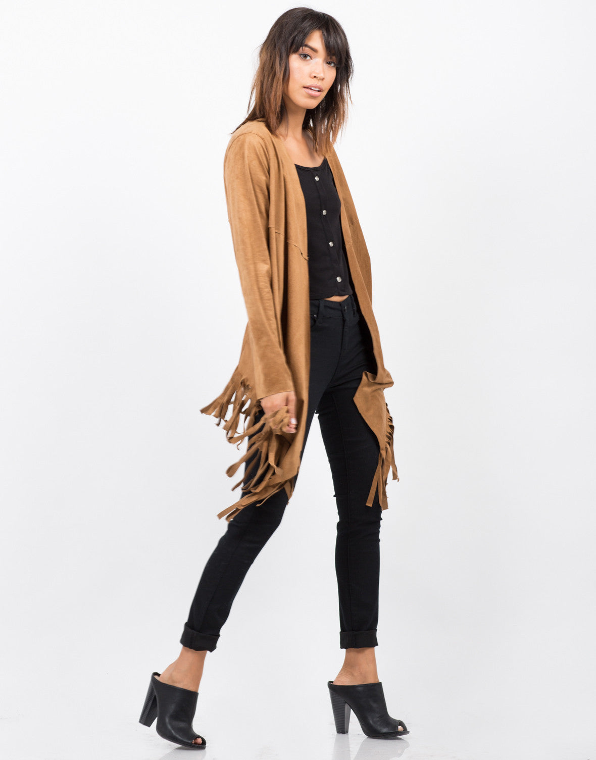 Side View of Light Suede Fringe Jacket