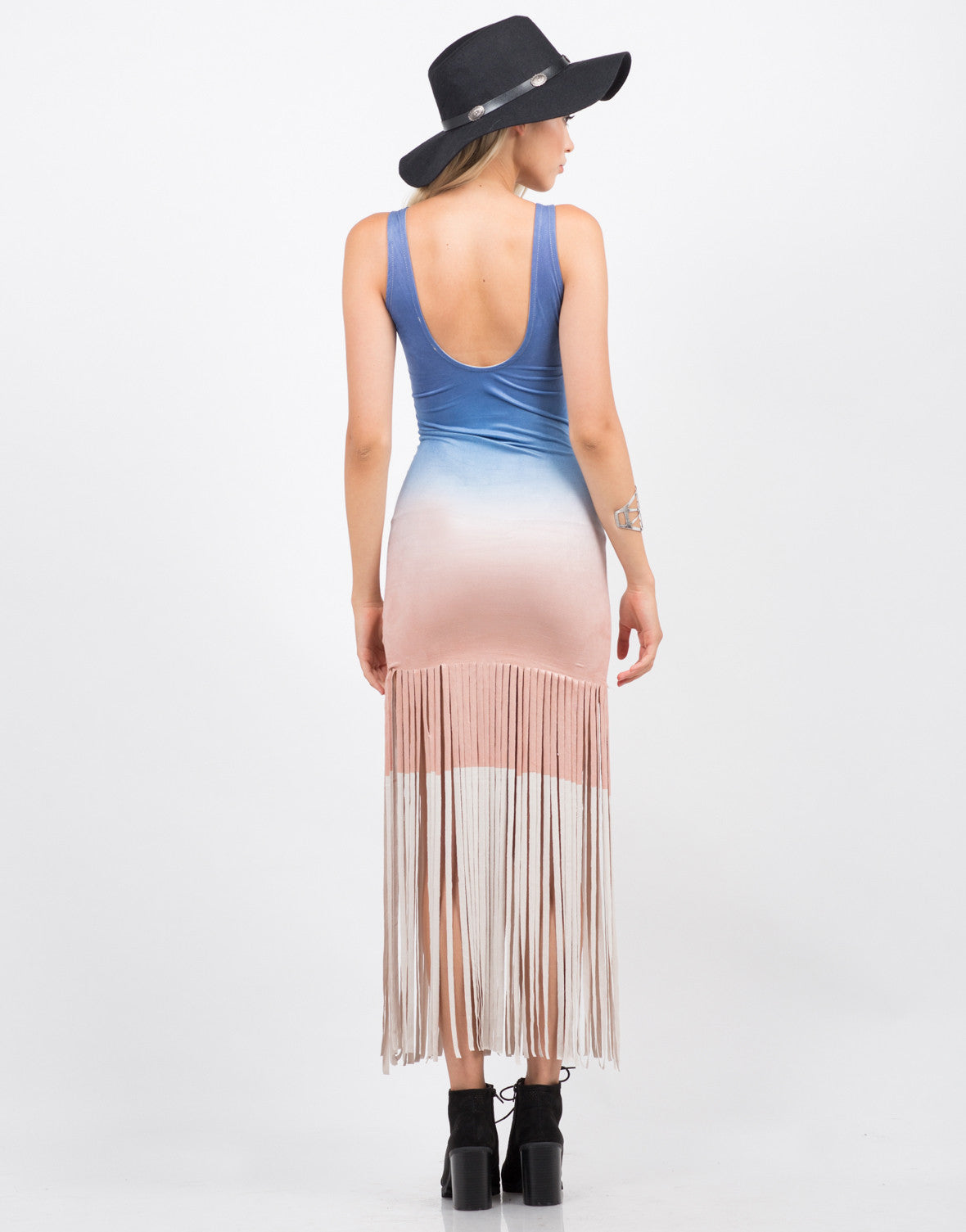 Back View of Light Suede Ombre Dress