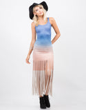Front View of Light Suede Ombre Dress